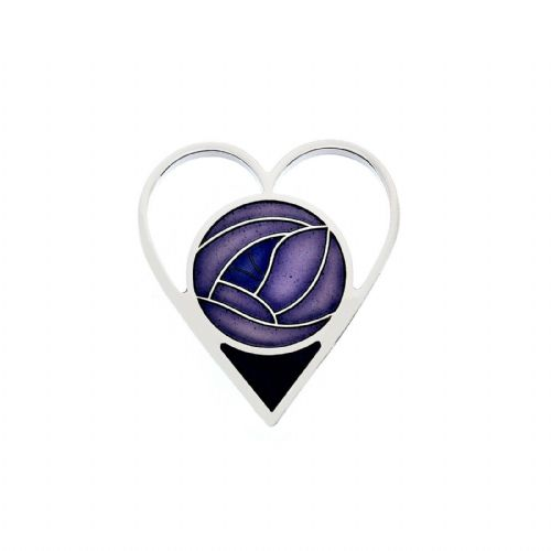 Mackintosh Purple Heart Brooch Silver Plated Brand New Gift Packaging
